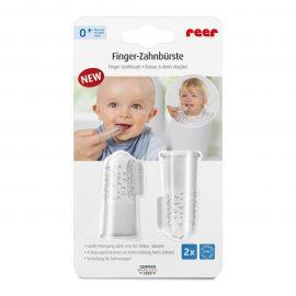 Periuta de dinti din silicon pentru folosire pe deget, 2 bucati,  REER 79249