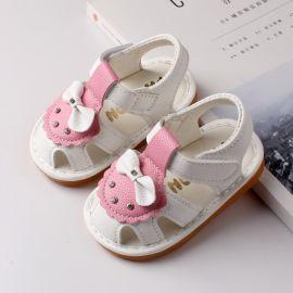 Sandalute albe cu roz si cu fundita MBA805-1-p25.9-12 luni (Marimea 20 incaltaminte)