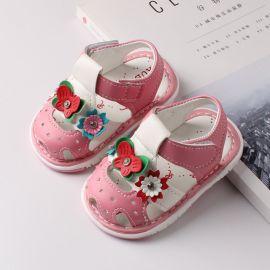 Sandalute roz cu floricele si fluturas LI518-3-p32.6-9 luni (Marimea 19 incaltaminte)