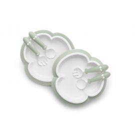 BabyBjorn - 2 Seturi hranire: farfurie, lingurita si furculita pentru bebe, Powder Green BSAFE074061A