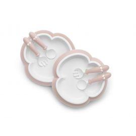 BabyBjorn - 2 Seturi hranire: farfurie, lingurita si furculita pentru bebe, Powder Pink BSAFE074064A