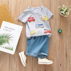 Costum bebelusi cu tricou gri - Masinute (Marime Disponibila: 9-12 luni (Marimea 20 incaltaminte)) MDHQ300-4