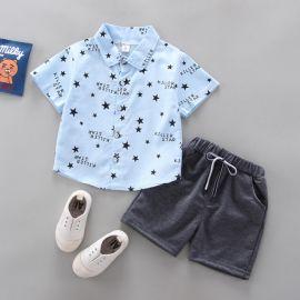 Costum cu camasuta bleu cu stelute (Marime Disponibila: 18-24 luni) LIHQ369-4