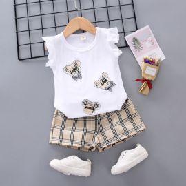 Costumas cu bluzita si pantaloni scurti in carouri (Marime Disponibila: 9-12 luni (Marimea 20 incaltaminte)) MDW-166-1
