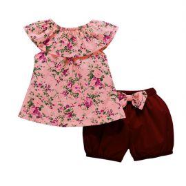 Costumas cu pantaloni bufanti pentru fetite (Marime Disponibila: 9-12 luni (Marimea 20 incaltaminte)) MDHA09008-3