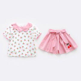 Costumas alb cu roz pentru fetite - Cirese (Marime Disponibila: 9-12 luni (Marimea 20 incaltaminte)),MBW-098-5