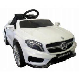 Masinuta electrica cu telecomanda, roti EVA, scaun piele Mercedes GLA45 - Alb EDEEDIAMGGLA45ELALB