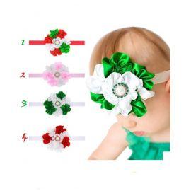 Bentita cu flori din satin pentru fetite (Marime Disponibila: 0-12 luni, Model: 2) MDMS138-CR