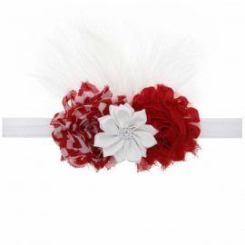 Bentita fetite cu flori rosii si albe (Marime Disponibila: 0-12 luni) MBMS134-CR